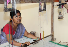 Weaving Handloom Khadi Saree Stock Photos