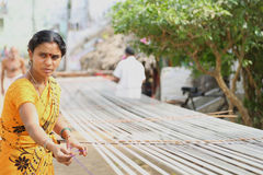 Weaving Handloom Preparation Royalty Free Stock Photos