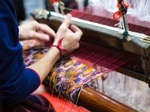 Weaving with local apparatus Royalty Free Stock Photography