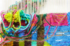 Weaving loom fabric manufacture Royalty Free Stock Image
