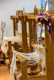 Weaving Loom`s in The Interior of a School royalty free stock image