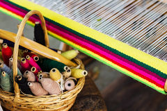 Weaving Loom and thread of yarn Royalty Free Stock Photo