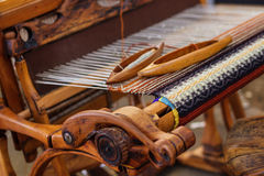 Weaving Loom and thread of yarn Royalty Free Stock Images