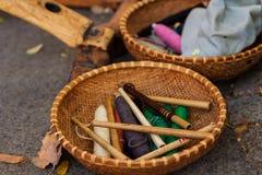 Weaving Loom and thread of yarn Stock Image