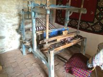 Weaving loom. Traditional Romanian weaving loom (razboi de tesut) in village Stock Photos