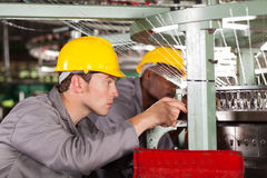 Weaving machine mechanics Stock Photo