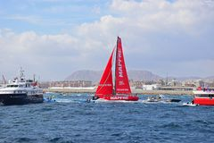 Mapfre Squeezing Between The Spectator Boats Volvo Ocean Race Alicante 2017 Royalty Free Stock Photo
