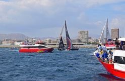 Scallywag Dodging Between The Spectator Boats Volvo Ocean Race Alicante 2017. Weaving between the many spectator boats in Alicante bay on the first leg of the Stock Photography
