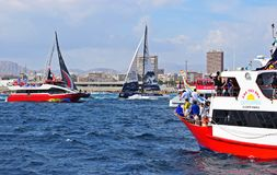 Squeezing Between The Spectator Boats Volvo Ocean Race Alicante 2017 Stock Photo