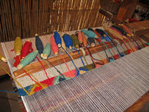 Weaving with an old traditional loom, Teotitlan, Mexiko Stock Photo