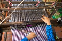 Weaving textile at Champa village, Mekong delta, Vietnam.  Royalty Free Stock Photos