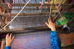 Weaving textile at Champa village, Mekong delta, Vietnam.  Stock Photos