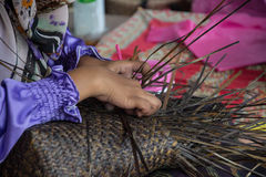 Weaving a wicker basket by handmade. Thailand Royalty Free Stock Images