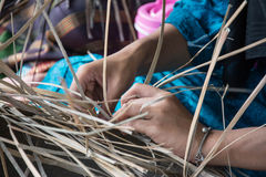 Weaving a wicker basket by handmade. Thailand Stock Image