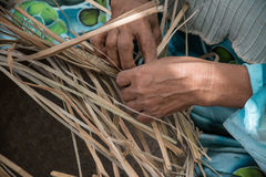 Weaving a wicker basket by handmade. Thailand Royalty Free Stock Photos