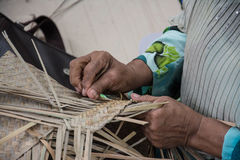 Weaving a wicker basket by handmade. Thailand Royalty Free Stock Image