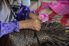 Weaving a wicker basket by handmade. Weaving a wicker basket by handmade,Thailand Royalty Free Stock Images