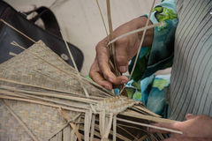 Weaving a wicker basket by handmade. Thailand Stock Photography