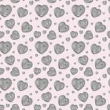 Cute endless St. Valentine`s steampunk pattern metallic hearts with cogwheels vector illustration