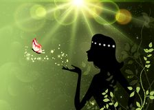 Summer, spring, forest fairy silhouette, magic, fantasy wallpaper royalty free illustration