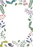 Floral colorful background. Floral frame. royalty free illustration