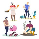 Collection of men doing housework. Cartoon characters isolated on white background. Vector illustration. Collection of men doing housework. Cartoon characters vector illustration