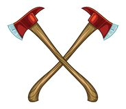Crossed Firefighter`s Axes with Red Heads and Wood Handles royalty free illustration