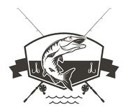 Musky or Northern Pike Logo with Crossed Fishing Poles royalty free illustration