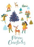 Christmas and New Year`s poster or card with people. Vector retro style illustration. Christmas and New Year`s poster or card with people. Vector retro style royalty free illustration