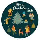 Christmas and New Year`s poster or card with people. Vector retro style illustration. Christmas and New Year`s poster or card with people. Vector retro style vector illustration