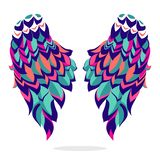 Colorful wings, sign, symbol, icon, vector illustration. Beautiful wings royalty free illustration
