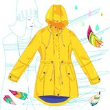 Vector yellow raincoat on white background royalty free illustration