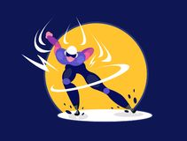Speed skater. Olympic speedskater athlete speed skating ice arena vector illustration