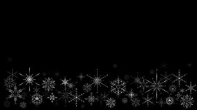Christmas frame with snow flakes on black background royalty free illustration