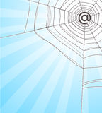 Web. With a sign on e-mail instead of a spider Royalty Free Stock Image
