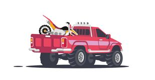Pickup with sports motorcycles. royalty free illustration
