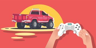 Hands Holding Video game console. The game of car racing, race SUVs, pickups, monster truck. The survival game cars with huge huge wheels vector illustration