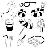 Set of beach stuff line art icon stock illustration