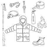 Set of camp tools line art icon symbols vector illustration on white background royalty free illustration