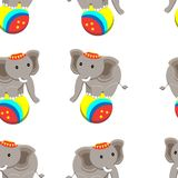Seamless pattern with cute elephant circus and funny cartoon zoo animals on white background. Colorful vector illustration for fabric print, wallpaper, wrapping royalty free illustration