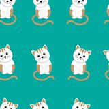 Seamless pattern with cute cat and funny cartoon zoo animals on blue background stock illustration