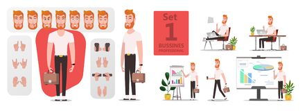 Business Man creation stylized character set vector illustration