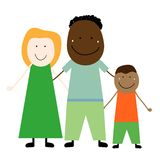 Interracial family with a child stock illustration