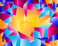 Rainbow coloured geometric shapes background stock illustration