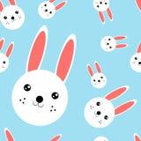 Seamless pattern heads of rabbit. Illustration of seamless pattern with animal stock illustration
