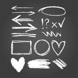 Chalk graphic elements collection - frames, arrows, rectangle, oval and round shapes. vector illustration