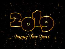 New Year 2019 line design firework champagne gold royalty free illustration