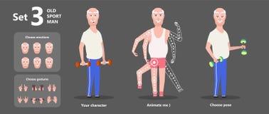 Gymnastics grandpa dumbbells exercises. A set of emotions stock illustration