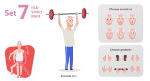 Older man perform exercises to barbell lifting stock illustration