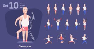 Older man perform exercises fitness training royalty free illustration